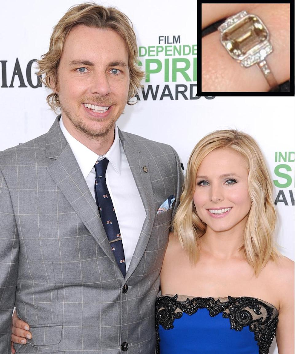 """<p>Actor Dax Shephard proposed to his <em>When in Rome</em> costar Kristen Bell with a fancy-colored emerald cut <a rel=""""nofollow noopener"""" href=""""http://stylenews.peoplestylewatch.com/2010/02/01/the-details-of-kristen-bells-engagement-ring/"""" target=""""_blank"""" data-ylk=""""slk:diamond"""" class=""""link rapid-noclick-resp"""">diamond</a> by Neil Lane. The couple wed in October 2013.</p>"""