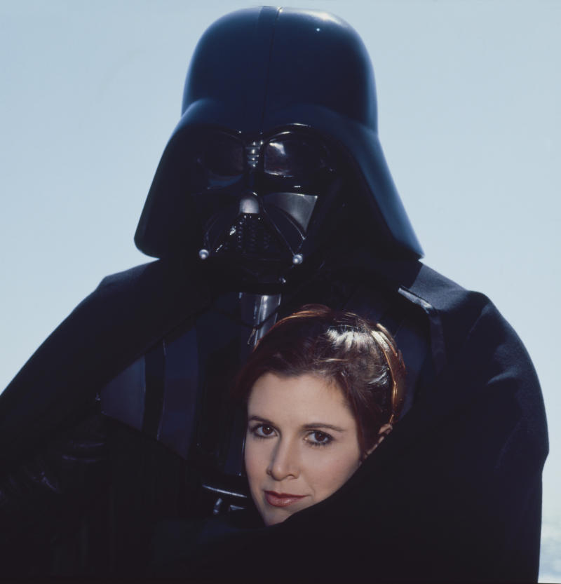Darth Vadar and Princess Leia, on the beach in Northern California for Star Wars Rolling Stone Magazine in 1983. (Photo by Aaron Rapoport/Corbis via Getty Images)