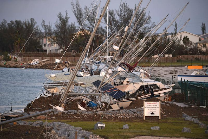 Damaged sail boats are shown in the aftermath of Hurricane Irma on Mondayin Key West, Florida. (Pool via Getty Images)