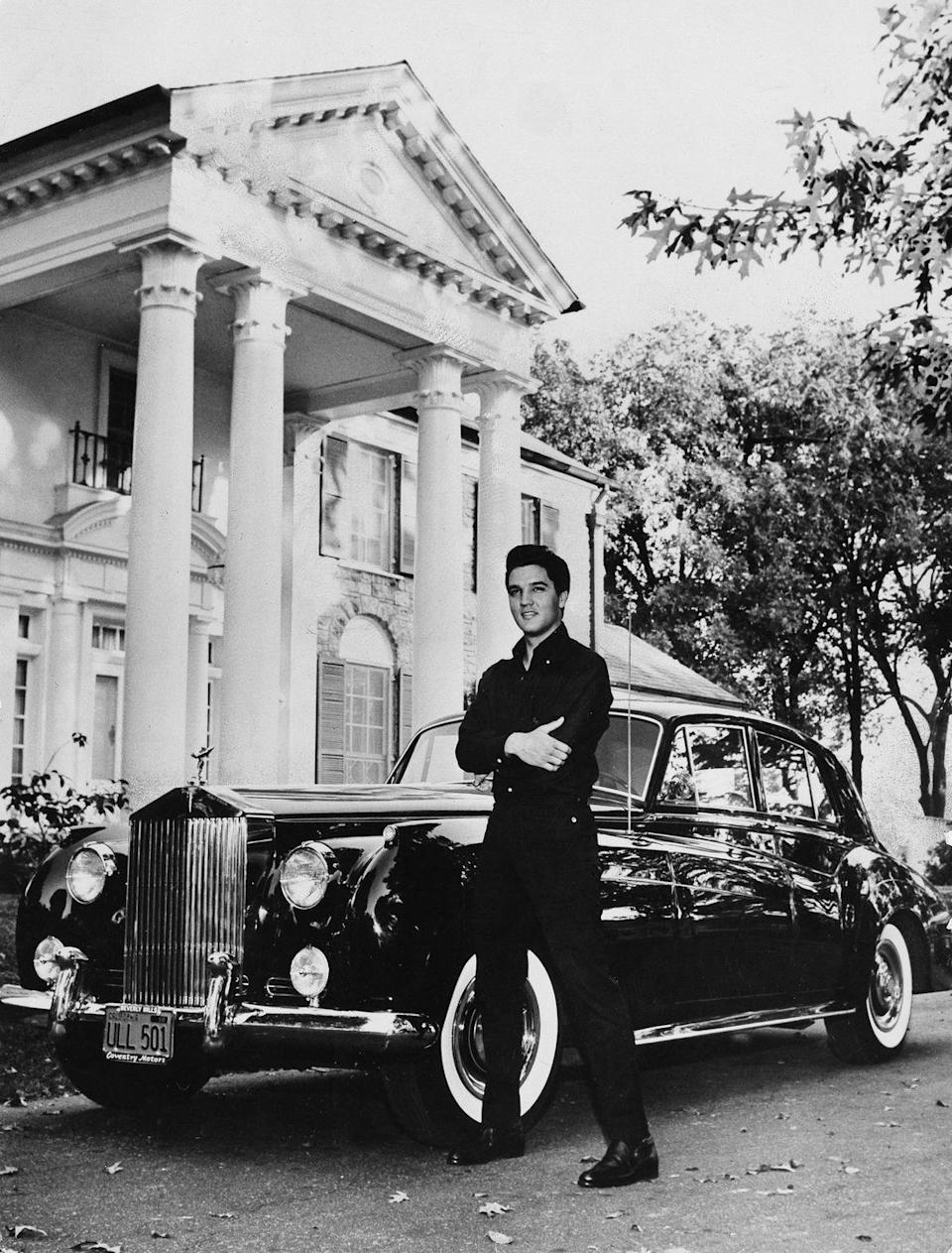 "<p>From his pink Cadillac to his 1973 Stutz Blackhawk, Elvis was quite a car enthusiast and turned to his expansive Memphis property to house his collection. They remained in his private collection after his death, and many are available to <a href=""https://www.graceland.com/epm"" rel=""nofollow noopener"" target=""_blank"" data-ylk=""slk:view today at the Presley Motors Automobile Museum"" class=""link rapid-noclick-resp"">view today at the Presley Motors Automobile Museum</a>. </p>"