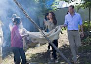 <p>On July 5 2016, the Duke and Duchess of Cambridge learnt how to smoke a caribou skin during a visit to Blachford Lake in Canada. <em>[Photo: Getty]</em> </p>