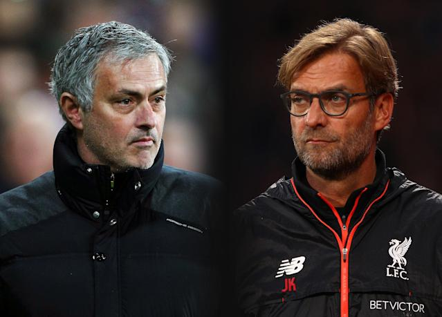 FILE PHOTO (EDITORS NOTE: GRADIENT ADDED - COMPOSITE OF TWO IMAGES - Image numbers (L) 630799888 and 619016290) In this composite image a comparision has been made between Jose Mourinho, Manager of Manchester United and Jurgen Klopp, Manager of Liverpool. Manchester United and Liverpool meet in a Premier League match on October 14,2017 at Anfield in Liverpool. ***LEFT IMAGE*** STRATFORD, ENGLAND - JANUARY 02: Jose Mourinho, Manager of Manchester United looks on during the Premier League match between West Ham United and Manchester United at London Stadium on January 2, 2017 in Stratford, England. (Photo by Ian Walton/Getty Images) ***RIGHT IMAGE*** LONDON, ENGLAND - OCTOBER 29: Jurgen Klopp, Manager of Liverpool looks on during the Premier League match between Crystal Palace and Liverpool at Selhurst Park on October 29, 2016 in London, England. (Photo by Ian Walton/Getty Images)