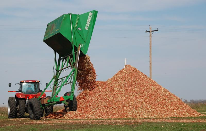 FILE - In this Oct. 30, 2007, file photo, a dump wagon adds freshly gathered corn cobs to a pile on a farm near Hurley, S.D. The first trickle of fuels made from agricultural waste, including corn cobs, is finally winding its way into the nation's energy supply, after years of broken promises and hype promoting a next-generation fuel source cleaner than oil. As refineries produce this so-called cellulosic fuel, it has become clear, even to the industry's allies, that the benefits remain, as ever, years away. (AP Photo/Dirk Lammers, File)