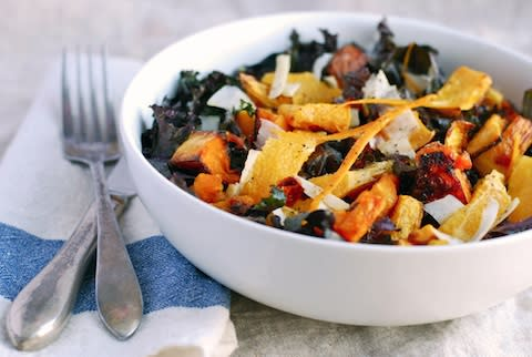 """<div class=""""caption-credit""""> Photo by: Brooklyn Supper</div><b>Redbor Kale with Roasted Squash and Orange <br></b> This colorful salad is one of my favorites. Earthy Redbor kale (a purple or pinkish variety) is dressed in a lightly sweet, tangy vinaigrette with the fragrance of fresh orange. Roasted butternut squash lends heartiness and fall color to the salad, and supremed oranges make it delightful. <br> <a href=""""http://www.babble.com/best-recipes/healthy-holiday-15-eye-catching-salad-recipes/#redbor-kale-with-roasted-squash-and-orange"""" rel=""""nofollow noopener"""" target=""""_blank"""" data-ylk=""""slk:Get the recipe"""" class=""""link rapid-noclick-resp""""><i>Get the recipe</i></a> <br>"""
