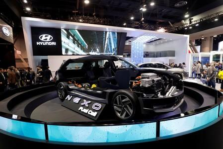 A cutaway display of a Hyundai NEXO fuel cell car is shown at the Las Vegas Convention Center during the 2018 CES in Las Vegas