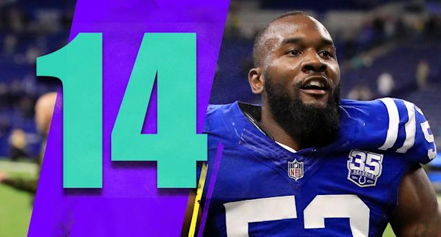 <p>Darius Leonard went down early, grabbed at his leg and was taken back to the locker room. Colts fans were just thrilled to see the rookie linebacker back on the field, and then he had 10 tackles and a sack in the win. Leonard has been a great pick and is right in the NFL defensive rookie of the year mix. (Darius Leonard) </p>