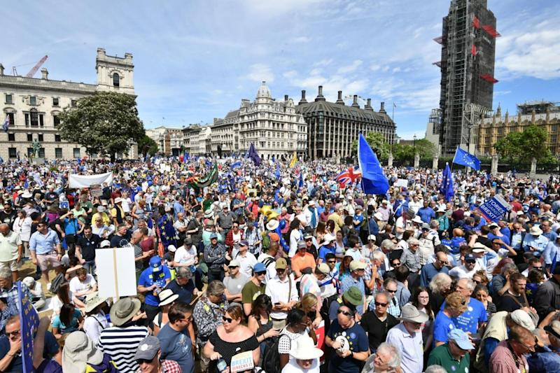 Thousands of Remain protesters gather in Parliament Square (PA)