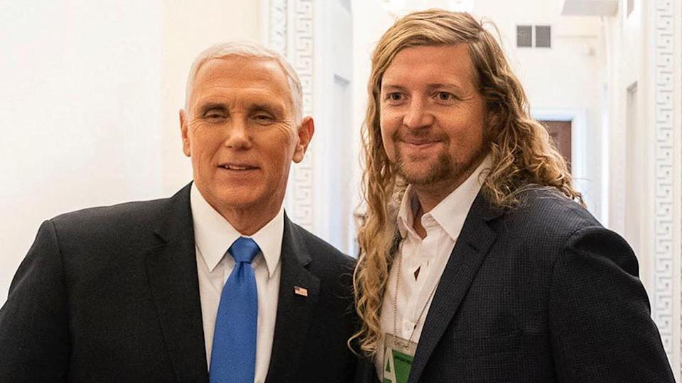 Sean Feucht with Mike Pence (Facebook)