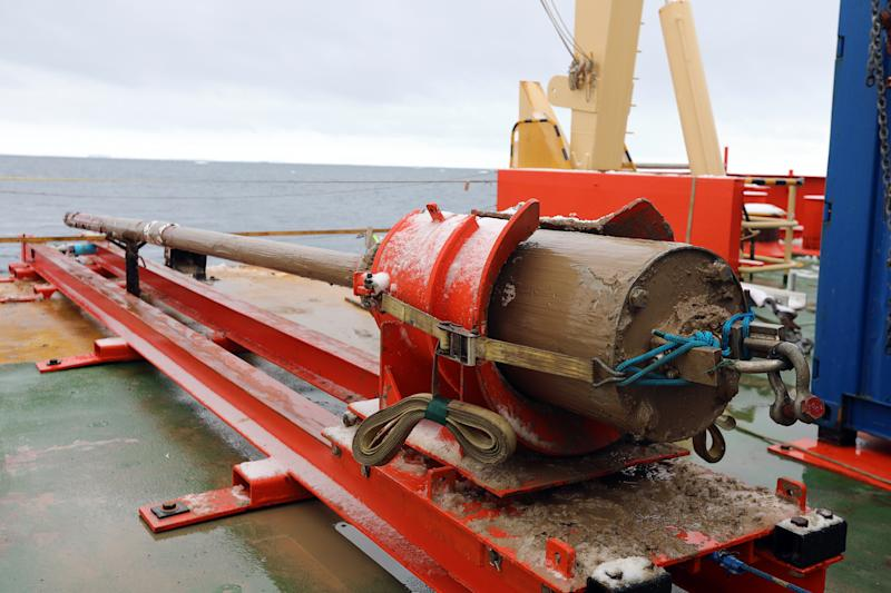 Caption: Mud-covered jumbo gravity corer on the deck of the Nathaniel B. Palmer in Antarctica Credit: Linda Welzenbach/Rice University