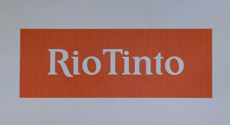 FILE PHOTO: The Rio Tinto mining company's logo is photographed at their annual general meeting in Sydney