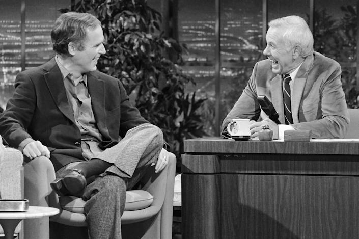 """Actor Charles Grodin, left, and Johnny Carson on """"The Tonight Show."""""""