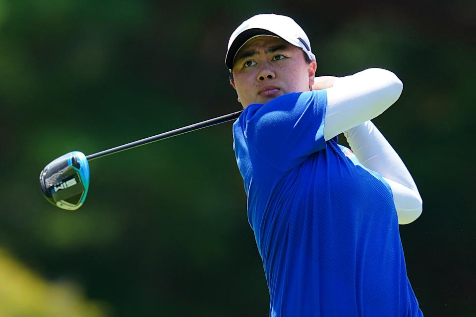 Philippines' Yuka Saso watches her drive from the 5th tee in round 2 of the womens golf individual stroke play during the Tokyo 2020 Olympic Games at the Kasumigaseki Country Club in Kawagoe on August 5, 2021. (Photo: YOSHI IWAMOTO/AFP via Getty Images)