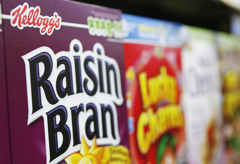 File photo of Kellogg's cereal boxes stacked in a supermarket in New York