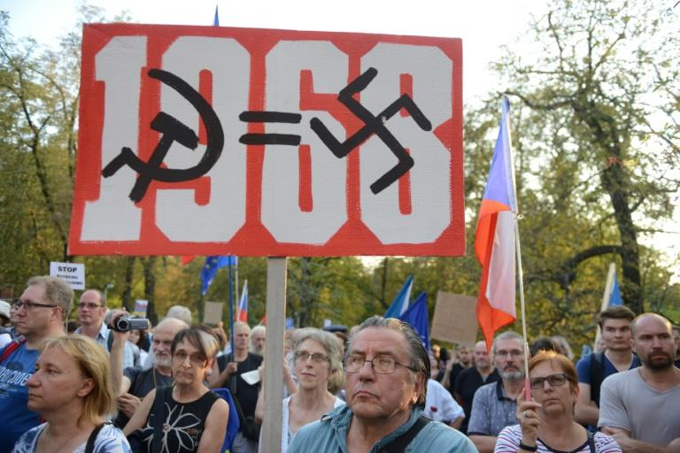 A demonstration to mark the 50th anniversary of the Soviet-led invasion of former Czechoslovakia in 1968 in front of the Russian embassy in Prague on August 20, 2018