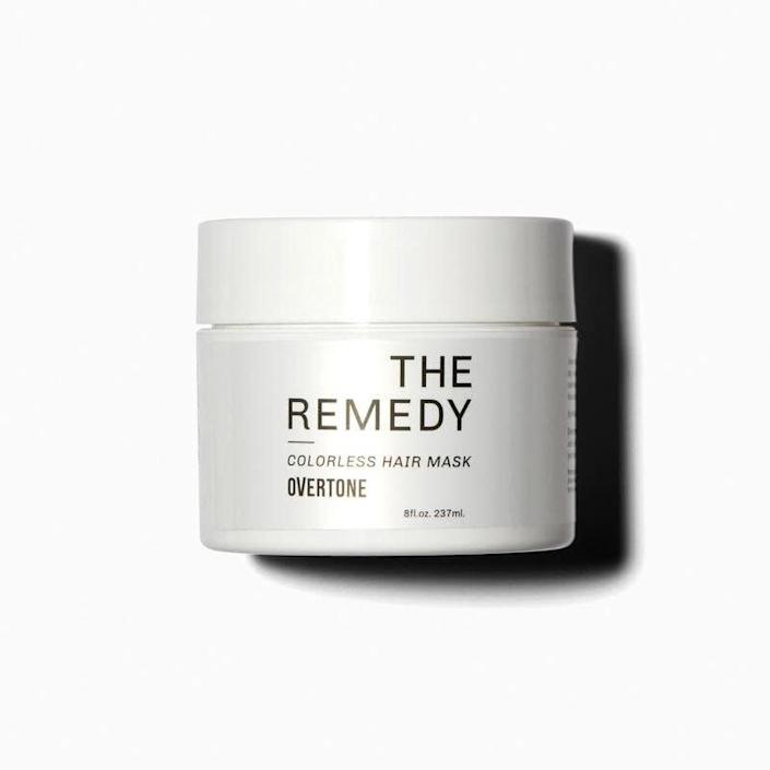 """Overtone's The Remedy hair mask infuses moisture and repairs damage, and comes in a wide variety of colors to maintain your shade. Find it for $27 at <a href=""""https://fave.co/2QQbgQV"""" rel=""""nofollow noopener"""" target=""""_blank"""" data-ylk=""""slk:Overtone"""" class=""""link rapid-noclick-resp"""">Overtone</a>."""