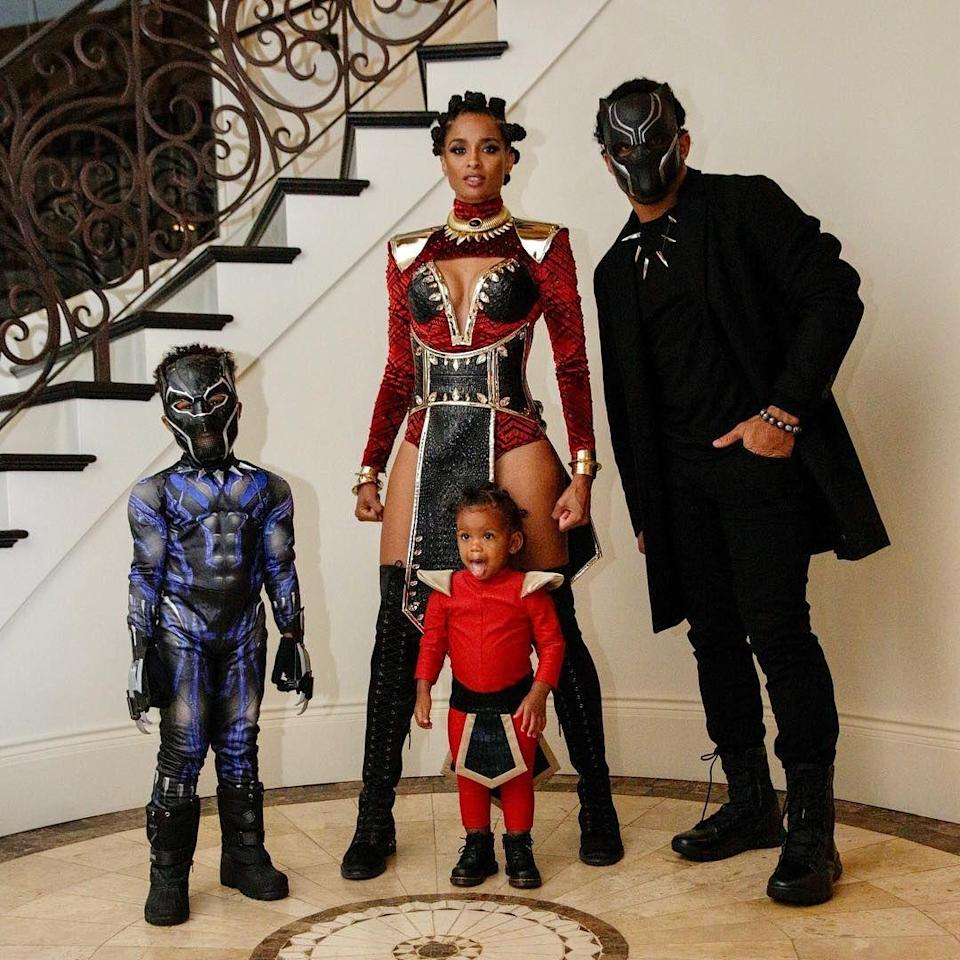 "<p>Wakanda forever! Ciara and Russell Wilson were inspired to dress their family as the cast of the 2018 Marvel blockbuster. </p><p><strong>RELATED:</strong> <a href=""https://www.goodhousekeeping.com/holidays/halloween-ideas/g1422/group-halloween-costumes/"" rel=""nofollow noopener"" target=""_blank"" data-ylk=""slk:20 Group Halloween Costumes You Can Order Online"" class=""link rapid-noclick-resp"">20 Group Halloween Costumes You Can Order Online</a></p>"