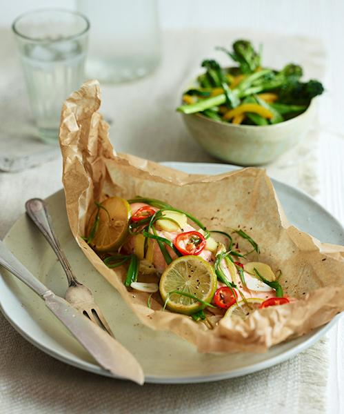 <p>Salmon on papillote with ginger and lime</p>