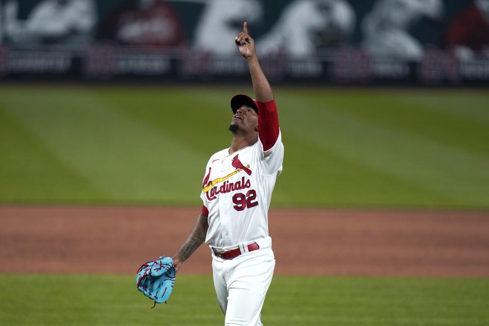 St. Louis Cardinals relief pitcher Genesis Cabrera celebrates after striking out Colorado Rockies' Charlie Blackmon to end a baseball game Friday, May 7, 2021, in St. Louis. (AP Photo/Jeff Roberson)