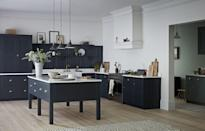 """<p>A moveable freestanding island, which can be used as a convenient work table and meal table, is great to consider.</p><p>'A moveable island is valuable to those who need furniture to act as a preparation-based room divider during the day and pushed aside at night to make way for entertaining,' say Life Kitchens. </p><p>• 'Haddon' in charcoal and burnished bronze from <a href=""""https://burbidgekitchenmakers.co.uk/"""" rel=""""nofollow noopener"""" target=""""_blank"""" data-ylk=""""slk:Burbridge Kitchen Makers"""" class=""""link rapid-noclick-resp"""">Burbridge Kitchen Makers</a><br></p>"""