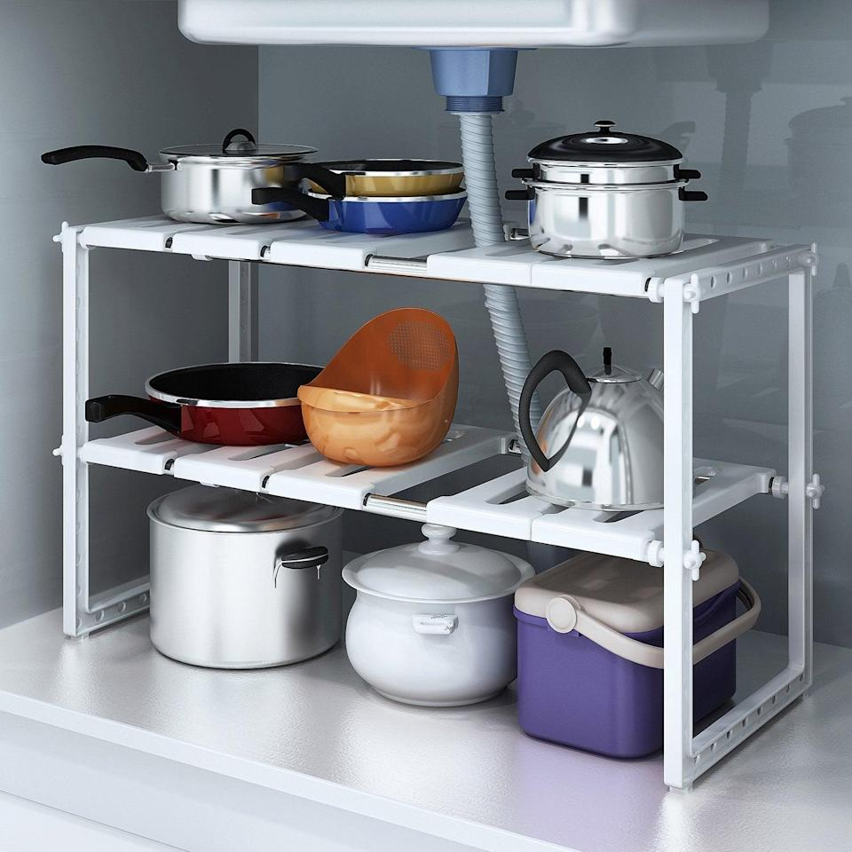 <p>If you're looking for a choice that isn't metal, try this <span>Do4U 2 Tiers Expandable Kitchen Storage </span> ($39).</p>