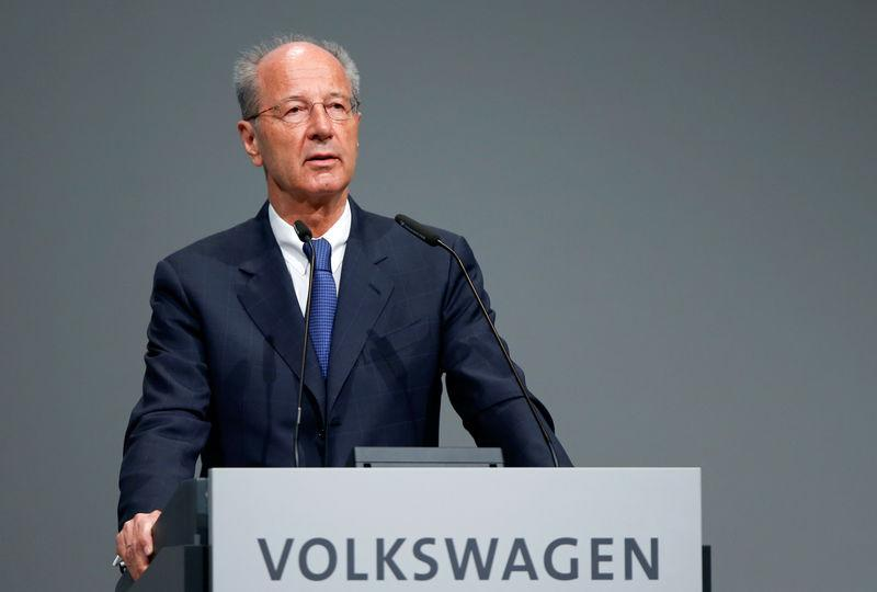Poetsch, chairman of the Volkswagen's supervisory board, speaks during the Volkswagen Group's annual general meeting in Berlin