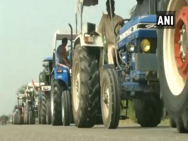 Visuals from the tractor protest. (Photo/ANI)