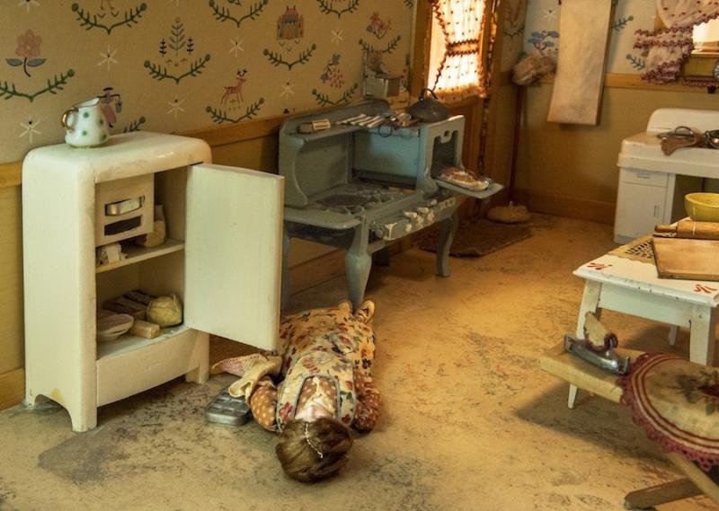 "Frances Glessner Lee's ""Kitchen,"" created around 1944-46. It measures approximately 17 by 25 1/4 by 24 3/4 inches. (Courtesy of the Office of the Chief Medical Examiner, Baltimore, MD)"