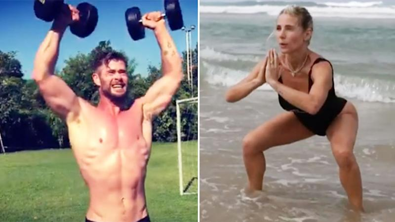 A composite photo of Elsa Pataky and Chris Hemsworth exercising.