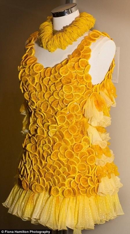 """<p>Brazilian artist Adriana Bertini has created <a href=""""http://www.dailymail.co.uk/news/article-2702868/Contraception-couture-Fashion-designer-showcases-fabulous-gowns-entirely-CONDOMS.html"""" rel=""""nofollow noopener"""" target=""""_blank"""" data-ylk=""""slk:several garments entirely out of condoms"""" class=""""link rapid-noclick-resp"""">several garments entirely out of condoms</a> as part of her AIDS awareness project, Condom Couture. She once made a wedding gown from 80,000 prophylactics—but we love this tangy sweet little yellow frock. Don't the condoms almost look like little orange slices?</p>"""