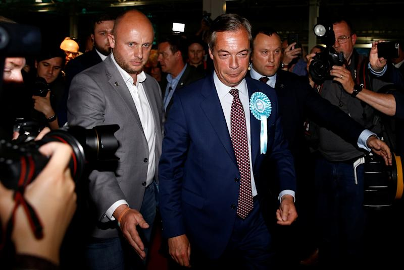 Brexit Party leader Nigel Farage arrives to attend a Brexit Party campaign event in London (REUTERS)