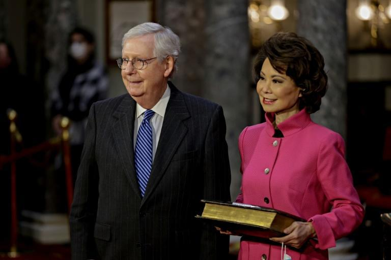 Former president Donald Trump also took aim at Elaine Chao (R), the Chinese-American wife of Senate Republican leader Mitch McConnell, who was transportation secretary in Trump's cabinet