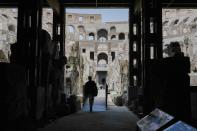 """A view of the newly restored lower level of the Colosseum during an event for the media, in Rome, Friday, June 25, 2021. After 2-and-1/2 years of work to shore up the Colosseum's underground passages, tourists will be able to go down and wander through part of what what had been the ancient arena's """"backstage."""" (AP Photo/Andrew Medichini)"""