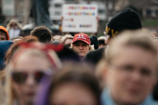 "<p>A demonstrator wears a ""55 Strong"" hat during a rally outside the West Virginia Capitol in Charleston, W.Va., on Friday, March 2, 2018. (Photo: Scott Heins/Bloomberg via Getty Images) </p>"