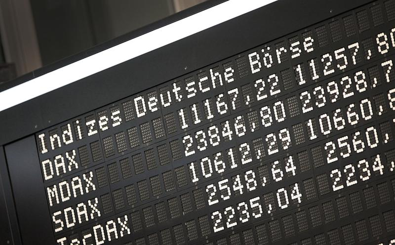 The display board of the German Stock Market Index DAX is pictured at the stock exchange in Frankfurt am Main, western Germany, on February 14, 2019. (Photo by Daniel ROLAND / AFP) (Photo credit should read DANIEL ROLAND/AFP via Getty Images)