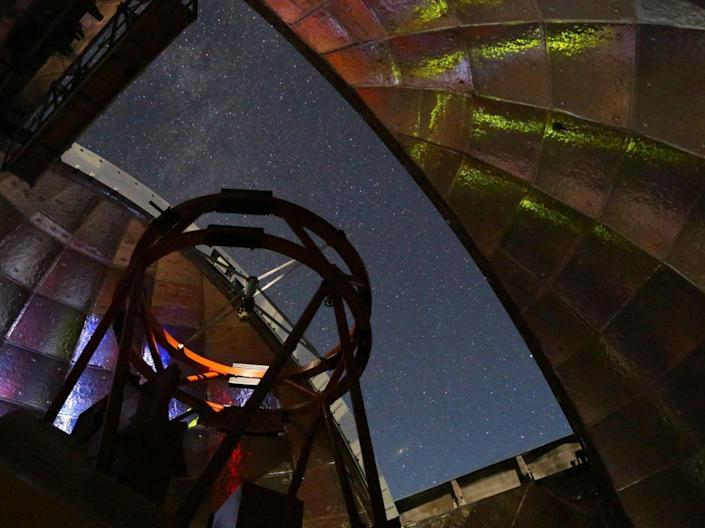 This photo shows the view from inside the dome of NASA's Infrared Telescope Facility during a night of observing. The 10.5-foot telescope atop Hawaii's Mauna Kea will be used to measure the infrared spectrum of asteroid 2001 FO32. / Credit: UH/IfA
