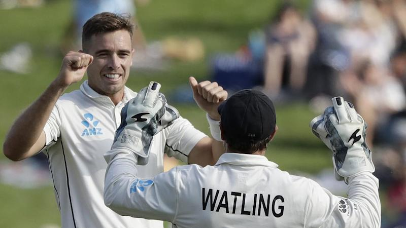 New Zealand's Tim Southee trapped England opener Dom Sibley for four on day two of the second Test
