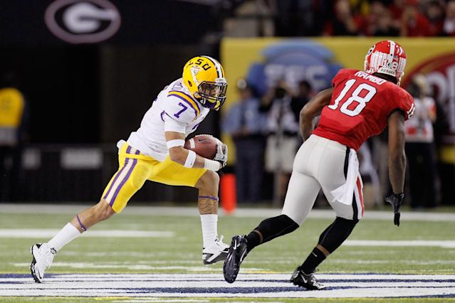 ATLANTA, GA - DECEMBER 03: Tyrann Mathieu #7 of the LSU Tigers returns a punt 42 yards in the third quarter against Bacarri Rambo #18 of the Georgia Bulldogs during the 2011 SEC Conference Championship at Georgia Dome on December 3, 2011 in Atlanta, Georgia. (Photo by Kevin C. Cox/Getty Images)