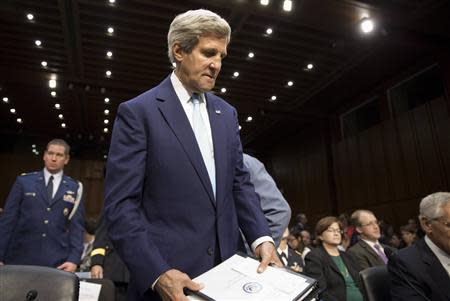 Kerry arrives to present the administration's case for U.S. military action against Syria in Washington