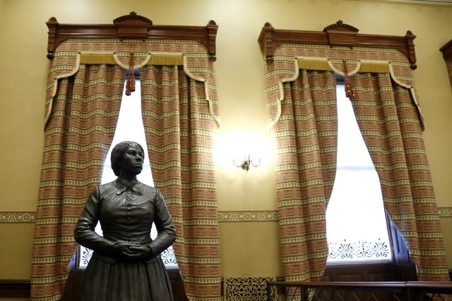 A bronze statue of Harriet Tubman at the Maryland State House (Julio Cortez/AP)