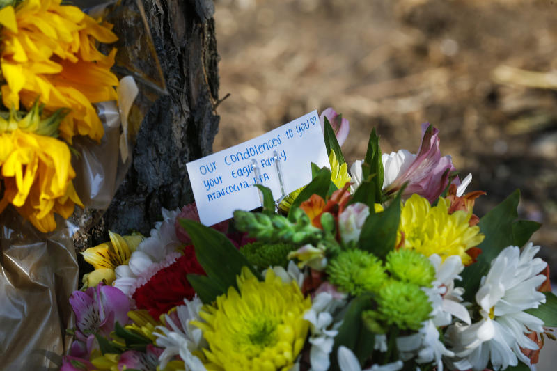 Flowers placed by Hannah, a friend of Salma Gomez and Chloe Robison who asked to only go by her first name, rest in a small memorial near the site of a fatal car crash that killed the two teens, Wednesday, July 25, 2018, in Atascocita, Texas. Authorities in Texas say a teen driver will face criminal charges after a violent crash that split his vehicle in half and killed two 16-year-old passengers. (Steve Gonzales/Houston Chronicle via AP)