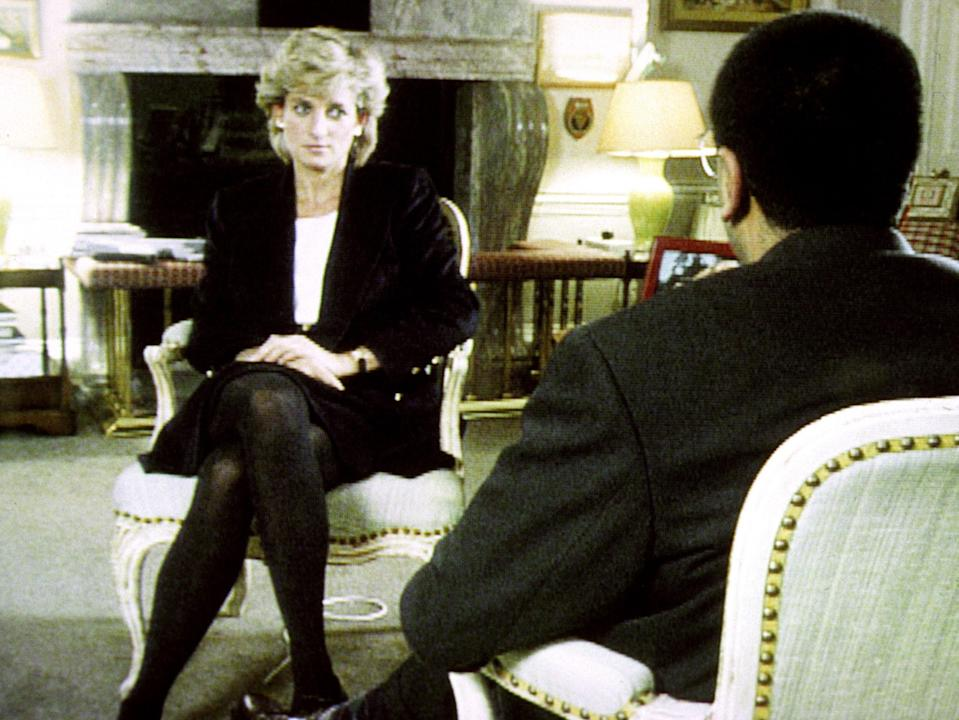 <p>All eyes: Princess Diana during her interview with Martin Bashir</p> (PA)