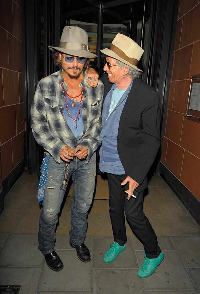 "Johnny Depp and Keith Richards hit the town in London Wednesday night. The ""Pirates"" pals grabbed a bite at C London. <a href=""http://www.splashnewsonline.com/"" target=""new"">Splash News</a> - September 15, 2010"