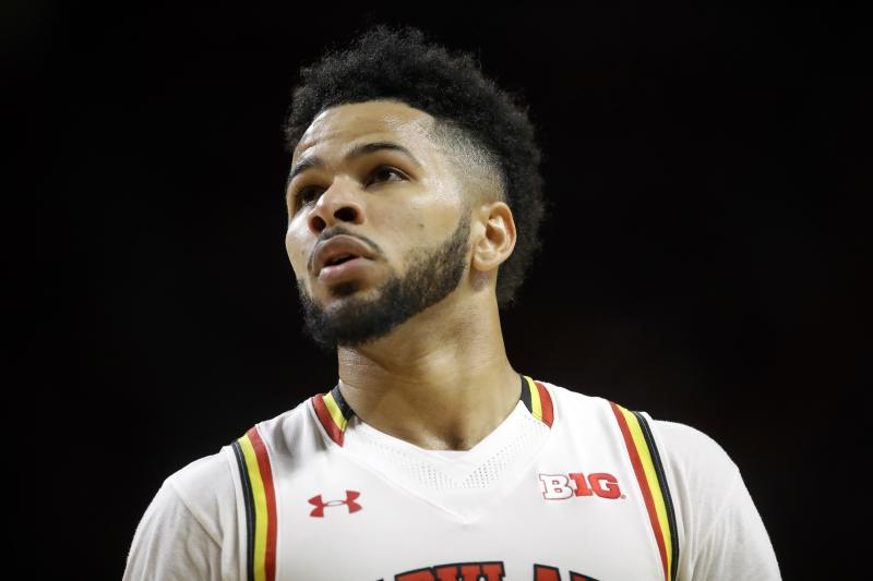 """FILE - In this Wednesday, Feb. 22, 2017, file photo, Maryland guard Jaylen Brantley walks on the court in the second half of an NCAA college basketball game against Minnesota, in College Park, Md. A federal judge has dismissed a lawsuit in which two former University of Maryland men's basketball players accused makers of the """"Fortnite"""" video game of misappropriating a dance move that the ex-teammates popularized. U.S. District Judge Paul Grimm in Maryland ruled FridayMay 29, 2020, that the Copyright Act preempts claims that Jared Nickens and Jaylen Brantley filed in February 2019 against Epic Games Inc., creator of the wildly popular online shooting game.  (AP Photo/Patrick Semansky)"""