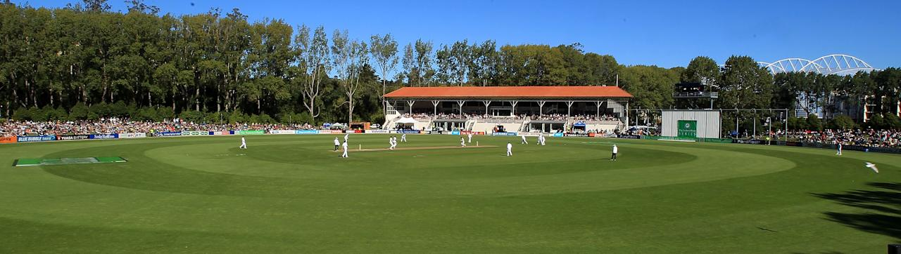 This picture taken on on March 8, 2012 shows a general view of University Oval during Day 2 of the first Test between New Zealand and South Africa in Dunedin. (Marty Melville/AFP/Getty Images)