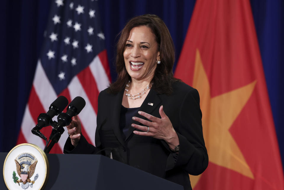 U.S. Vice President Kamala Harris holds a news conference before departing Vietnam for the United States following her first official visit to Asia in Hanoi, Vietnam, Thursday, Aug. 26, 2021. (Evelyn Hockstein/Pool Photo via AP)