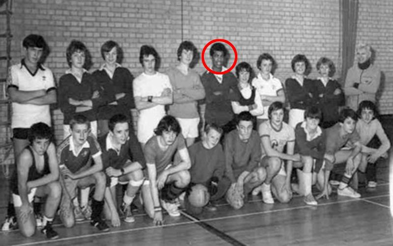 Adrian Ajao (circled) is photographed with school friends who were taking part in a charity five-a-side tournament