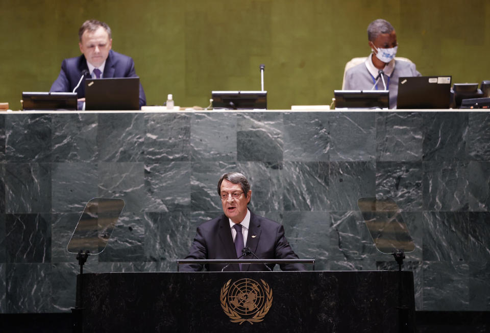Nicos Anastasiades, President of Cyprus addresses the 76th Session of the U.N. General Assembly at United Nations headquarters in New York, on Friday, Sept. 24, 2021. (John Angelillo /Pool Photo via AP)