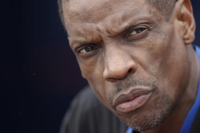"""FILE - In this March 13, 2017, file photo, Former New York Mets pitcher Dwight """"Doc"""" Gooden watches batting practice before a spring training baseball game between the Mets and the Miami Marlins in Port St. Lucie, Fla. Former National League Cy Young award winner Gooden is facing drug charges in New Jersey. A criminal complaint says that on June 7, 2019, two plastic baggies allegedly containing cocaine were found in Gooden's car during a traffic stop in Holmdel, in central New Jersey. (AP Photo/John Bazemore, File)"""