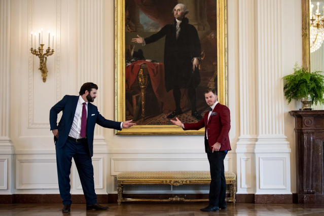 WASHINGTON, DC - MAY 9: Mitch Moreland #18 and Brock Holt #12 of the Boston Red Sox pose for a photograph as they take a tour during a visit to the White House in recognition of the 2018 World Series championship on May 9, 2019 in Washington, DC. (Photo by Billie Weiss/Boston Red Sox/Getty Images)