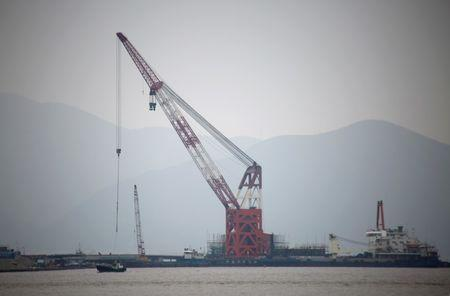 Crude oil terminal under construction is pictured off Ningbo Zhoushan port in Zhejiang